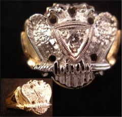 Scottish Rite Ring 10KT or 14KT Gold,  Solid Back #1423