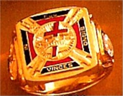 Wefferling Berry Knights Templar Ring 10K or 14K Gold, Solid Back #1524