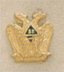 SCOTTISH RITE 32ND DEGREE LAPEL PIN  10KT YELLOW GOLD #3