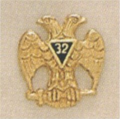 SCOTTISH RITE 32ND DEGREE LAPEL PIN GOLD PLATED  #6