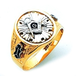 #134a Masonic Ring 10K or 14K Two Tone Open or Solid Back