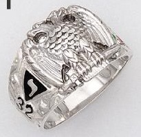 Sterling Silver Scottish Rite Ring Ring Solid Back#28