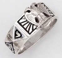 Sterling Silver Scottish Rite Ring Ring Solid Back#28B