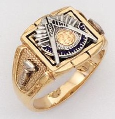 Sterling Silver and Gold Plated Past Master Ring Solid Back #20