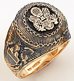 Men&#39s Military Ring, 10KT or 14KT, Open Back #4112