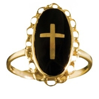 Ladies Clergy Ring, 10KT or 14 KT Yellow or White Gold #34