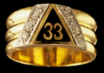 GOTHIC 33RD DEGREE SCOTTISH RITE RING .18CT #1626