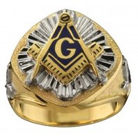 3rd Degree Masonic Ring 10K OR 14K, Solid Back, White or Yellow Gold, #601