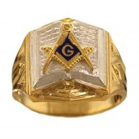 3rd Degree Masonic Bible Ring 10KT or 14KT YELLOW OR WHITE Gold, Open or Solid Back #407