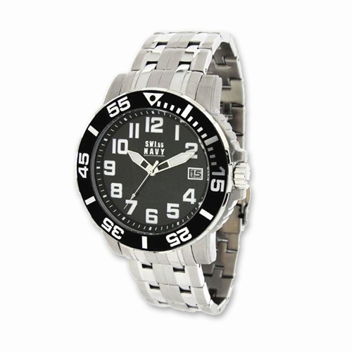 Mens SWI55 Navy Soldier Stainless Steel Black Dial Watch #35