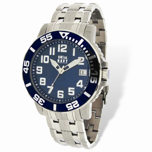 Mens SWI55 Navy Soldier Stainless Steel Blue Dial Watch #36