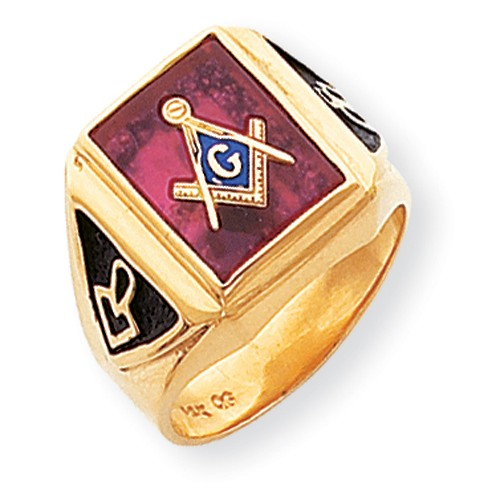 3rd Degree Blue Lodge Ring 14K Yellow Gold Solid Back #806