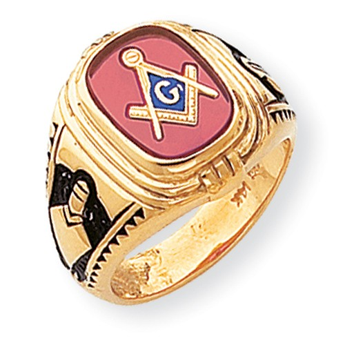 3rd Degree Blue Lodge Masonic Ring 14K Yellow Gold Open Back #804