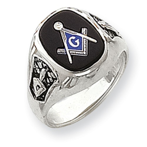 3r Degree Blue Lodge Masonic Ring 14K White Gold Solid Back #807
