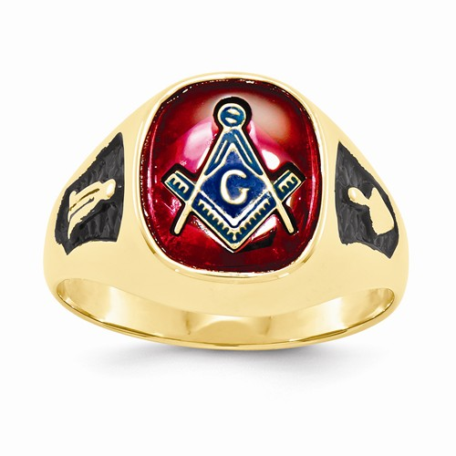 3rd Degree Blue Lodge Masonic Ring 14K Yellow Gold, Solid Back #800
