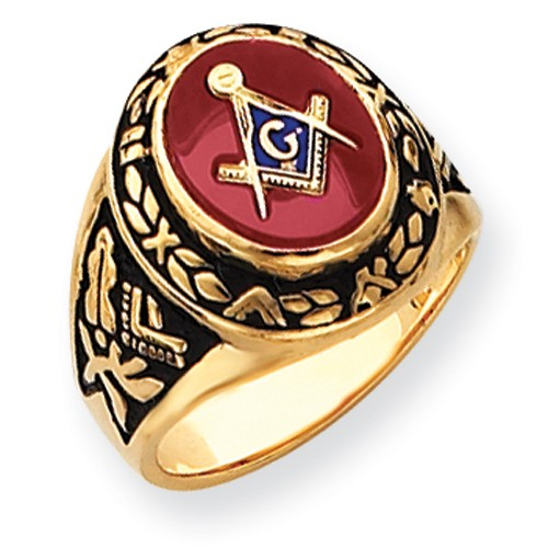 3rd Degree Blue Lodge Masonic Ring, 14K Yellow Gold Solid Back #802