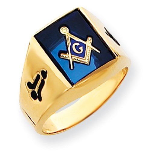 3rd Degree Blue Lodge Masonic Ring 14K Yellow Gold Open Back #809