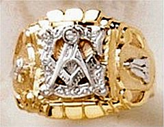 3rd Degree Masonic Blue Lodge Ring 10KT OR 14KT, Open or Solid Back, White or Yellow Gold #603